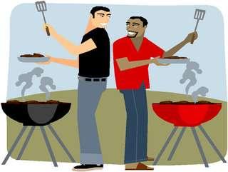 Men BBQing